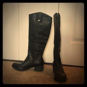 Knee High Black Faux Leather Boots